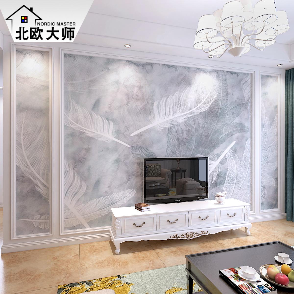 8D现代简约电视背景墙壁画影视墙纸北欧客厅卧室壁纸无缝墙布羽毛