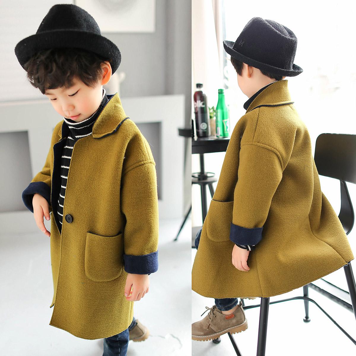 Зима мальчиков шерстяной пальто длина корейский теплая шерсть суконное пальто ребенок мужчина зимой ребятишки зима волна