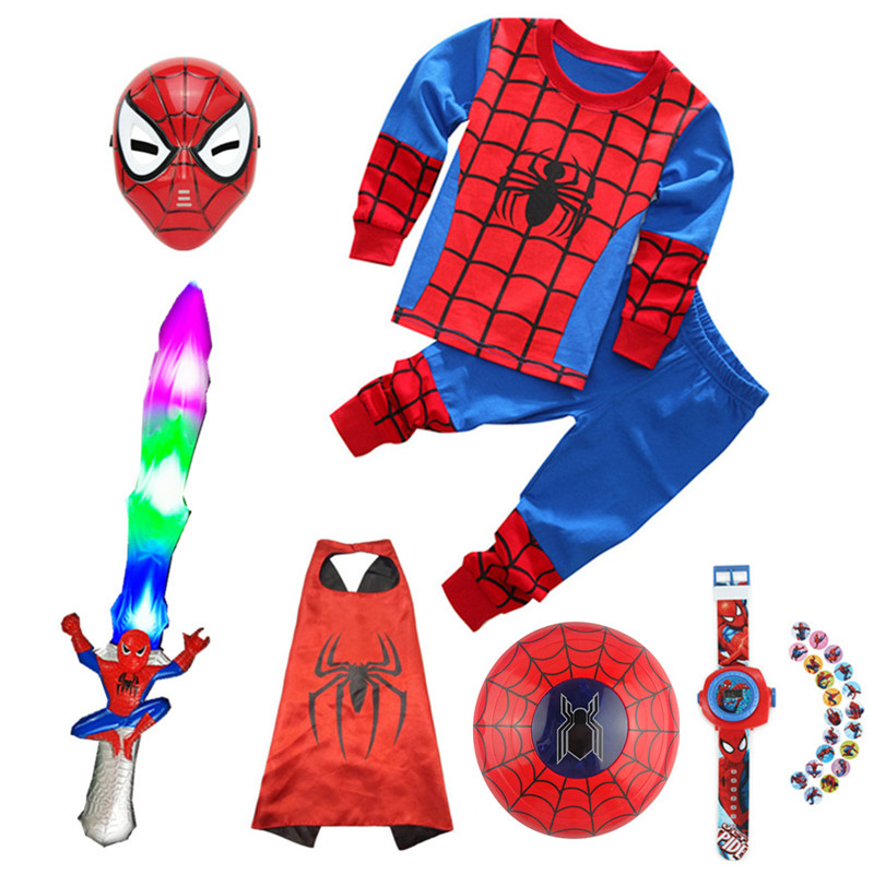 Spiderman lighting props Play Masks children stage play roles luminous sword shield Cape glove launcher