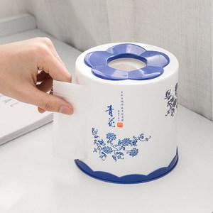家用纸巾盒创意卫生间圆桶餐巾抽纸收纳盒客厅茶几圆形桌面卷纸筒