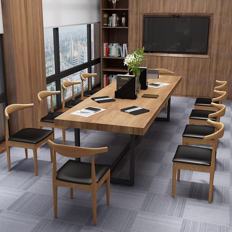 现代简约长方形会议桌实木长桌工作台电脑桌loft铁艺办公桌椅组合