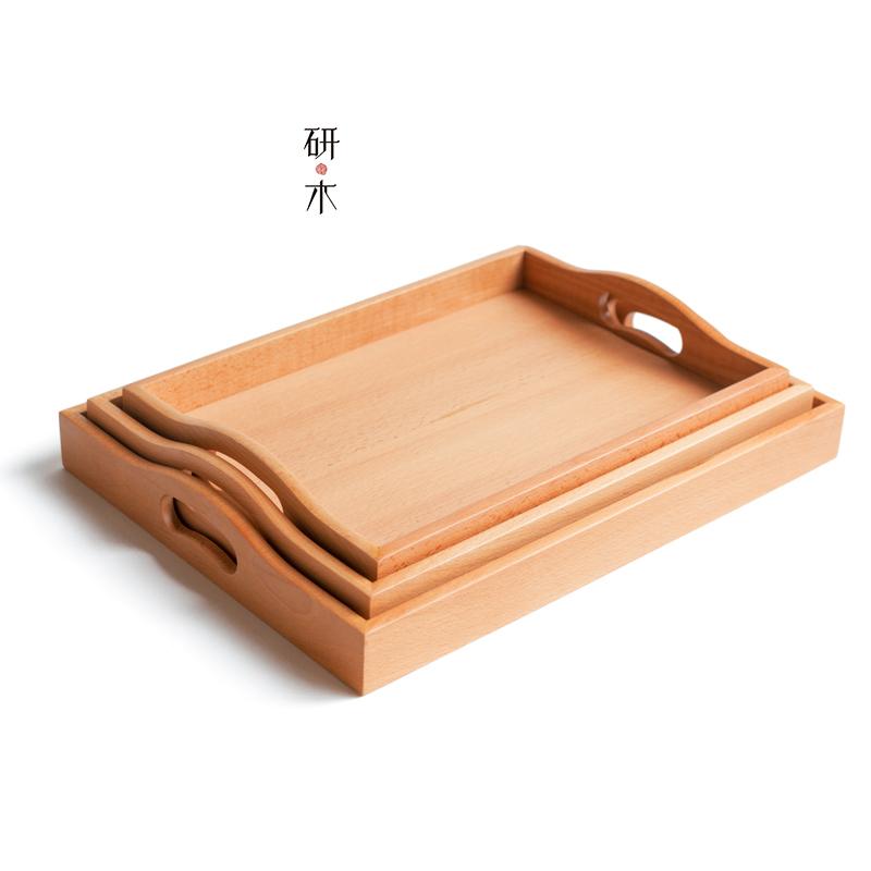 木托盘长方形 实木茶盘茶托 日式托盘水杯托盘大中小号家用木餐盘