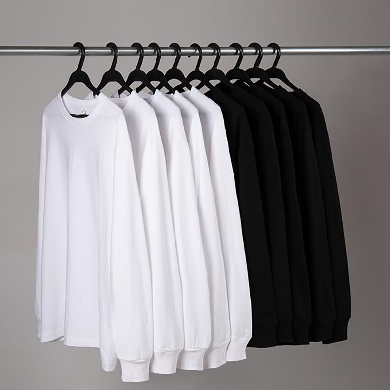 重磅日系潮流纯棉长袖T恤男士打底衫上衣百搭圆领宽松叠穿内搭白t