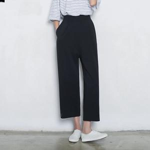 官网图2018新款韩版高腰阔腿裤女九分夏装学生直筒裤子