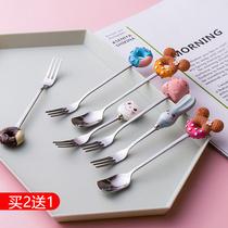 水果叉不锈钢创意可爱插小果的小叉叉儿童卡通叉子套装甜品叉家用