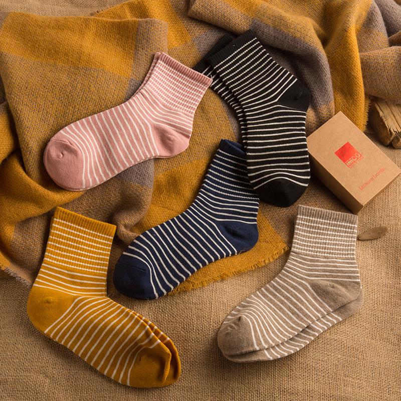 条纹袜子女可爱日系百搭韩版ins潮运动薄款夏季韩国夏中筒袜长袜