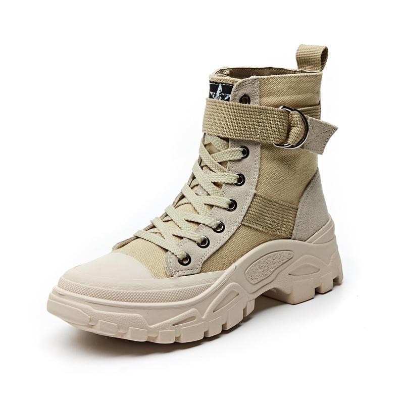 短靴搭配牛仔裤卷起来好吗:冬天卡其色短靴搭配图