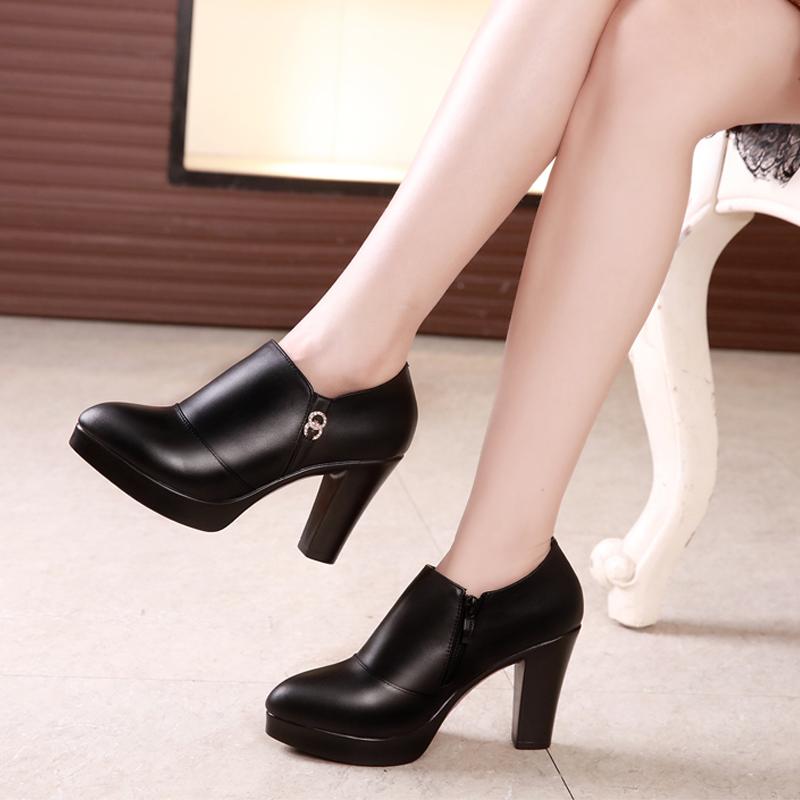 高跟鞋女真皮深口单鞋防水台粗跟皮鞋中跟大码秋冬旗袍走秀工作鞋