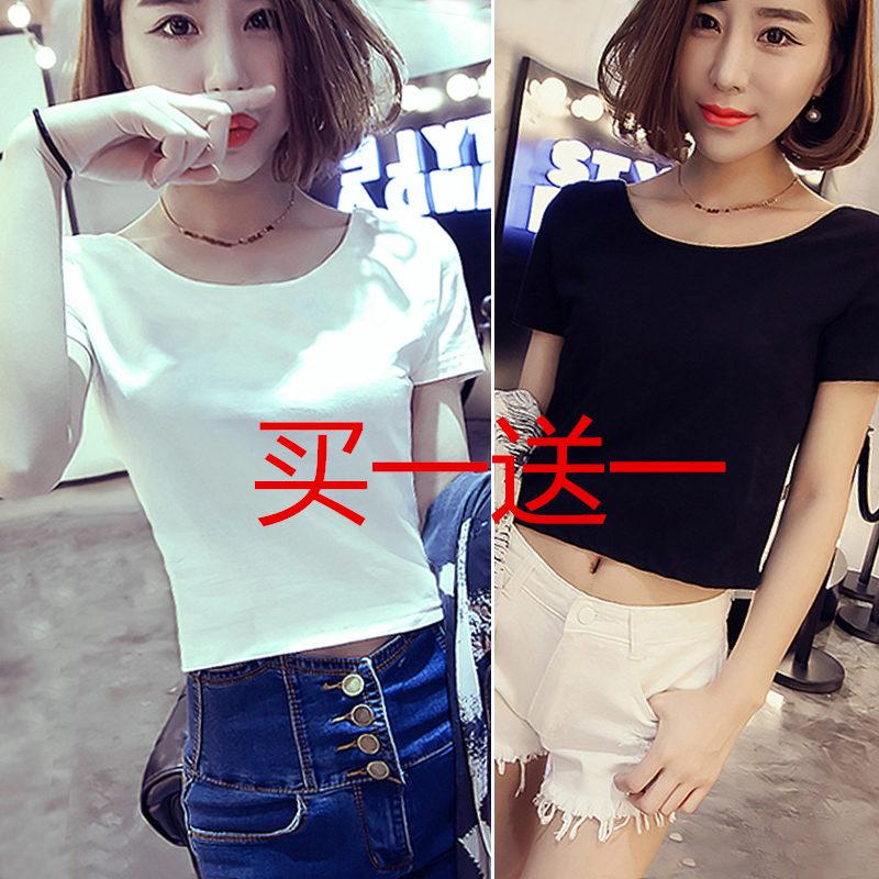 韩版少女超短装显瘦露脐T恤夏季紧身女学生短袖高腰短款上衣服潮