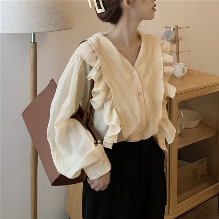 2021 spring and autumn design Ruffle V-neck loose wear chic long sleeve shirt womens wear