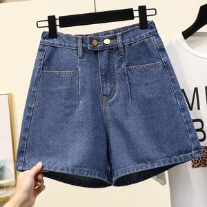 大码女装夏装2020新款松紧腰宽松胖妹妹mm200斤显瘦阔腿牛仔短裤