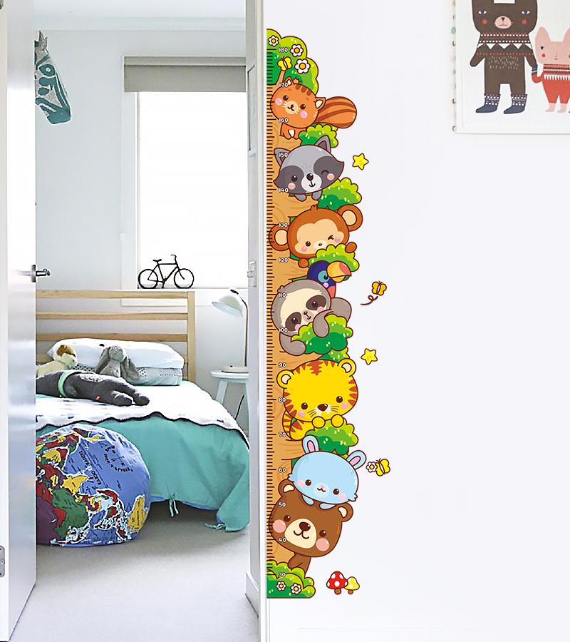 儿童房间卡通动物身高贴可移除墙贴面宝宝量身高尺贴纸测量仪贴画
