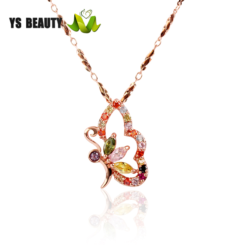 Womens Rose Gold Necklace Pendant 925 silver plated rose gold chain simple student pendant Japanese and Korean style trendsetter