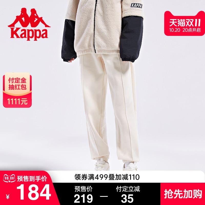【预】Kappa卡帕运动裤2021新款秋情侣男女加绒长裤休闲小脚卫裤