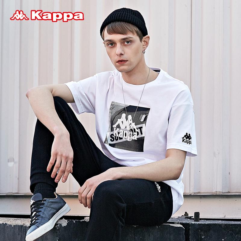 Kappa卡帕男宽松短袖T恤半袖运动短袖背靠背2018新品|K0815TD68D