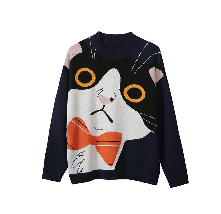 Mens autumn 2019 new sweater cat pattern round neck Pullover Sweater gy120117e
