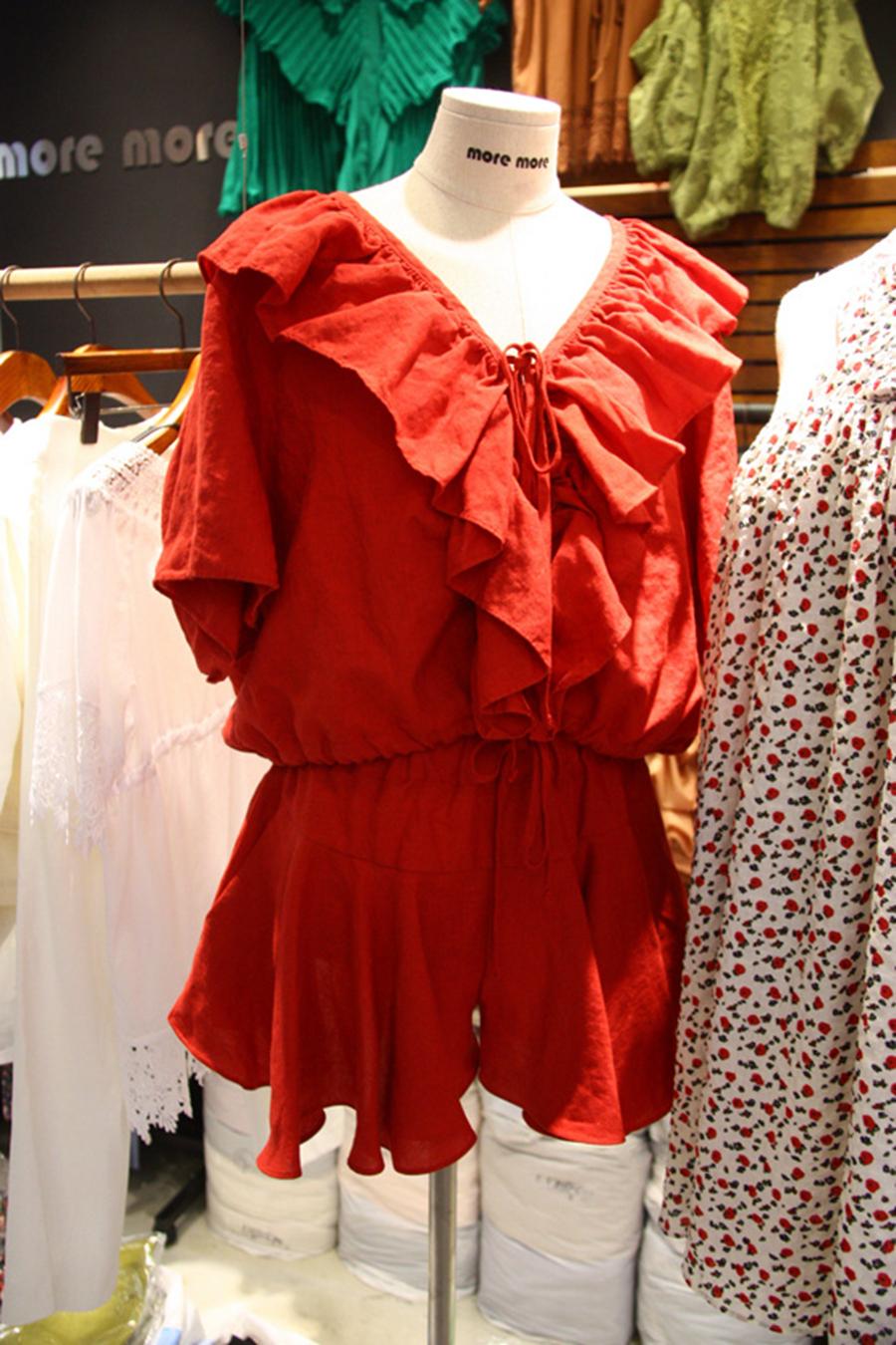 New Korean summer 2019 dongdamen two piece dress with ruffle, cotton and hemp