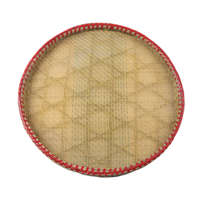 Farmhouse hand-made rice sieve bamboo sieve with perforated bamboo plaque to air dry tea sieve bamboo woven fine round dustpan