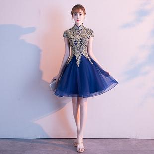 小礼服裙女2021新款 宴会中式 大合唱派对短款 旗袍连衣裙气质演出服