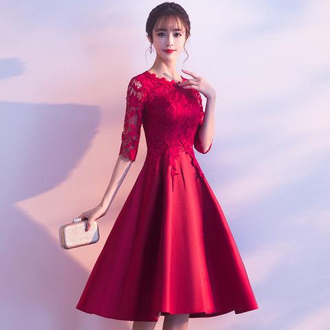 结婚敬酒服新娘晚礼服平时可穿2021新款酒红色孕妇连衣裙小个子女