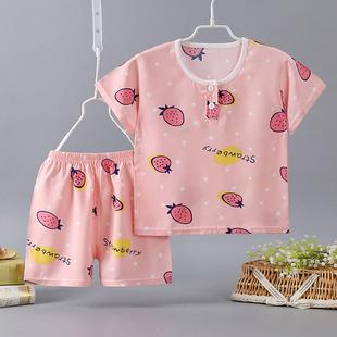 6岁 3短袖 人造棉宝宝衣服夏儿童棉绸睡衣2薄款 4男童女童绵绸套装