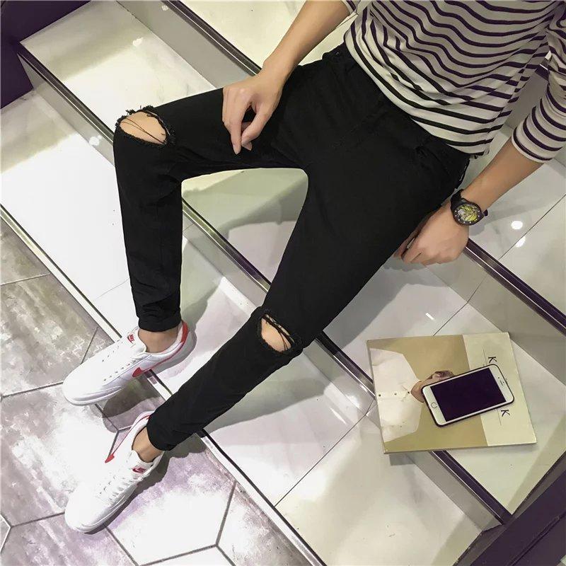 Hole jeans mens small feet slim fit 2017 Summer Youth black beggars pants Korean thin Capris men