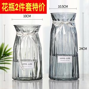 领2元券购买【两只】玻璃花瓶小摆件欧式透明富贵竹水培绿萝客厅干花大插花瓶