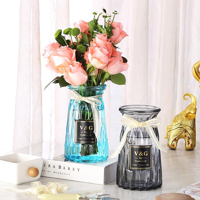 创意花瓶摆件欧式家居玻璃花瓶客厅透明绿萝水培植物干花插花花瓶