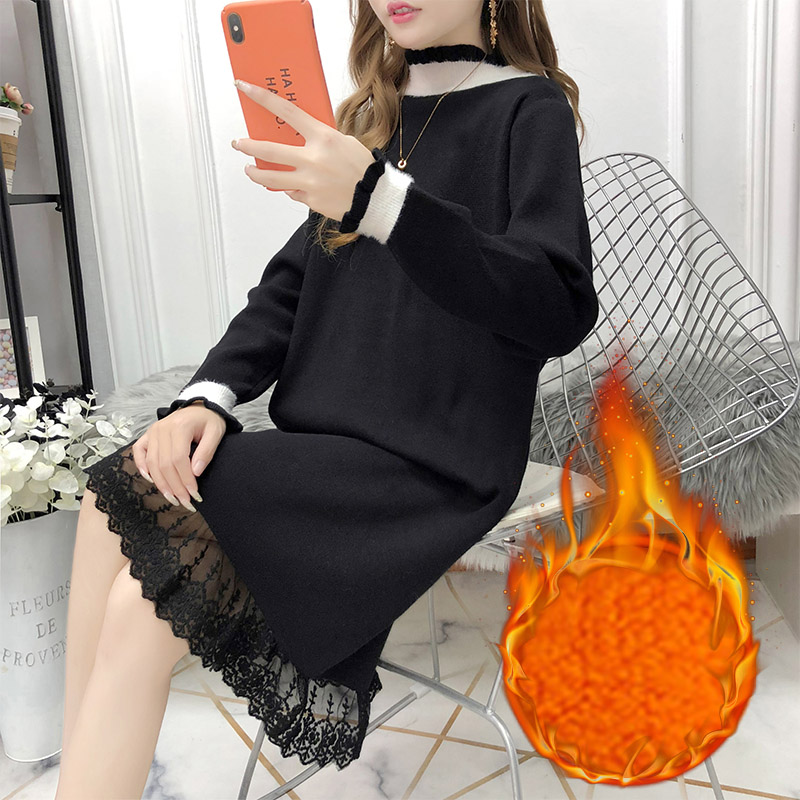 Mid length sweater with thick lace skirt