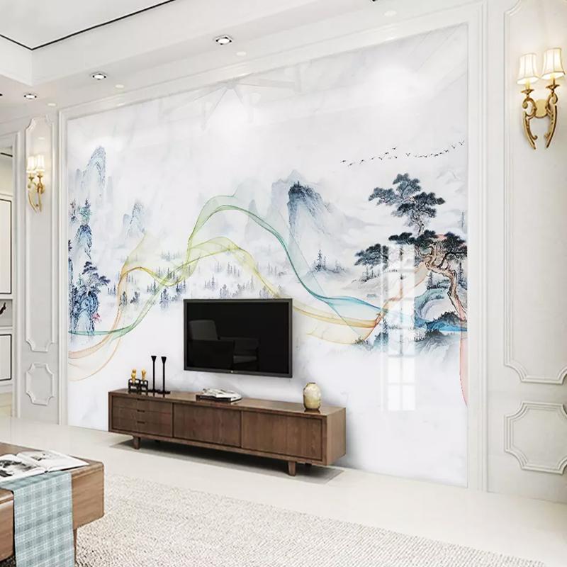 大理石电视瓷砖背景墙3d中式现代微晶石砖石材渗墨大板1200x2400有赠品