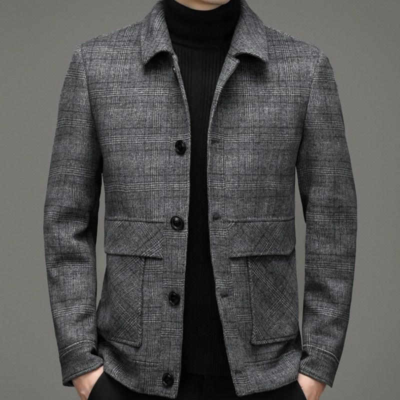 Pilkadan double-sided cashmere wool coat mens autumn and winter 21 Korean handsome short wool lapel jacket