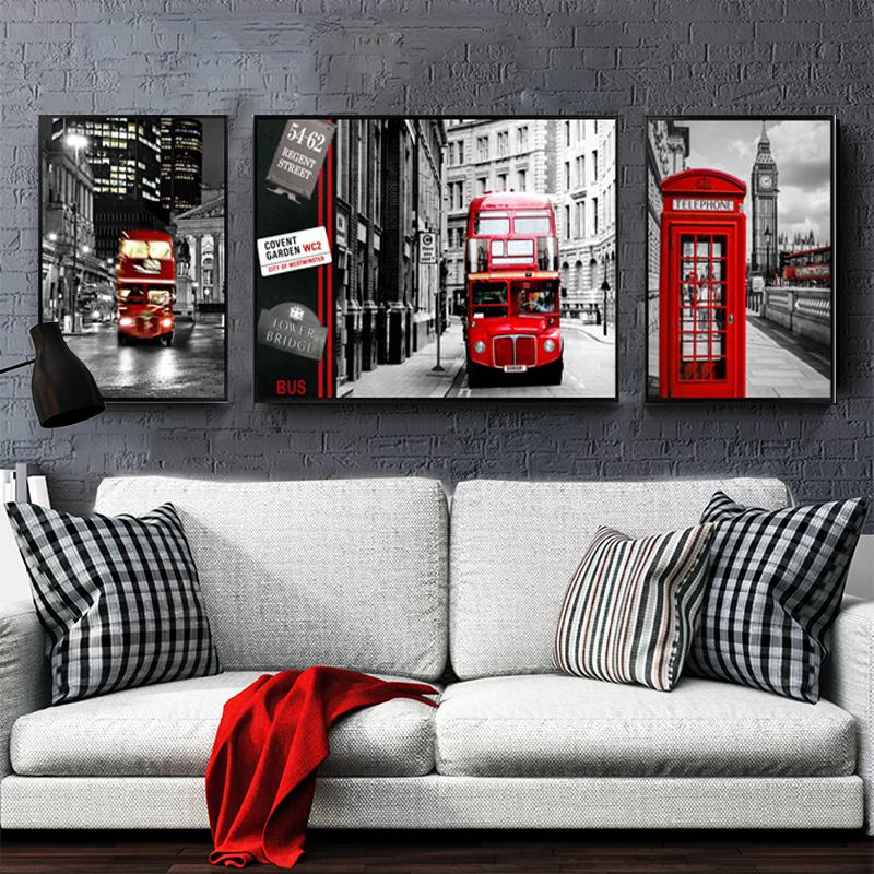 实木内框高清画面 破损补发 送配件黑白北欧红色电话亭现代客厅装饰画