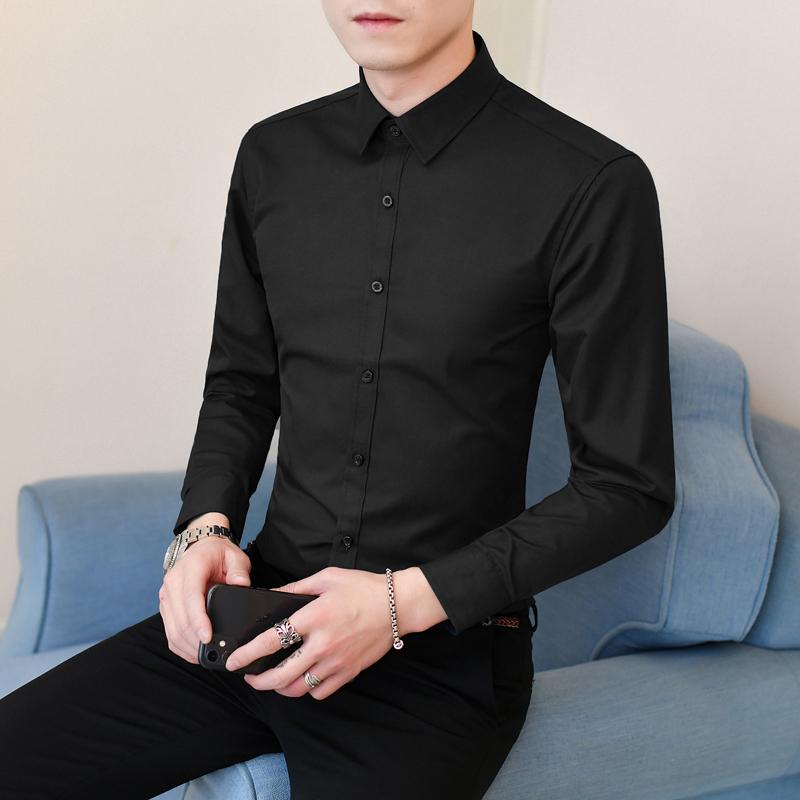黑色衬衫男士长袖休闲衬衣伴郎衬衫纯色衬衣商务年会正装上班工装