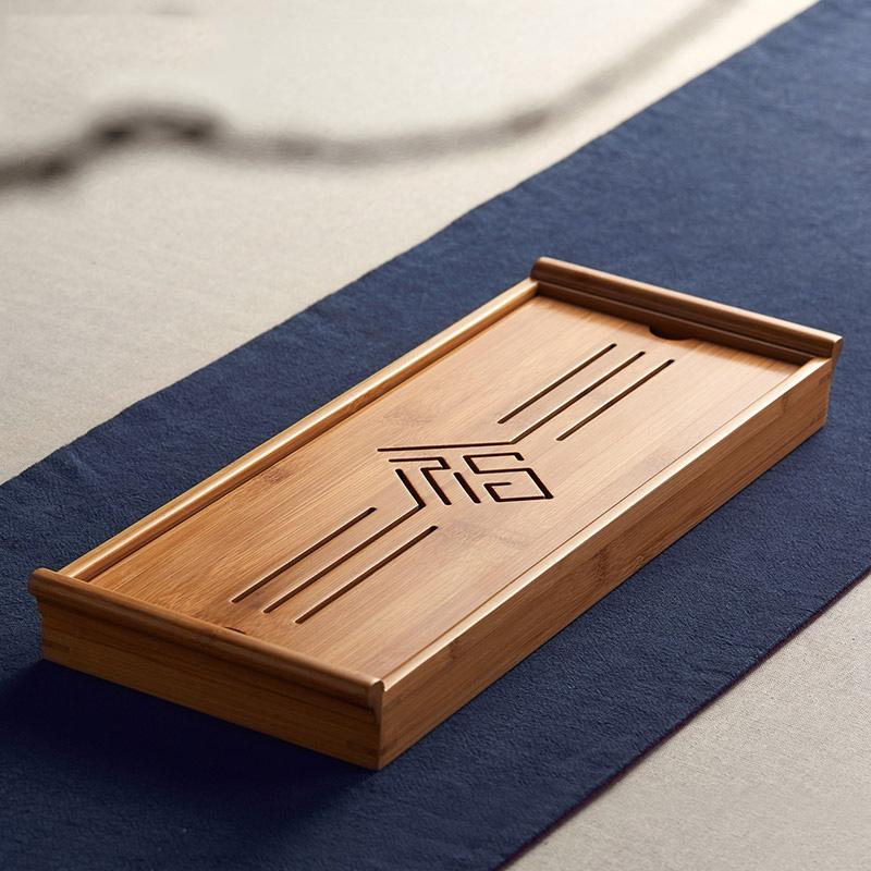 美斯尼竹子茶盘家用竹制大号长方形日式简约排水茶台托盘实木茶托