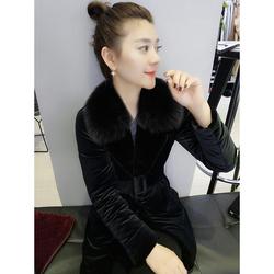 欧洲站2020冬装新款欧货潮韩版时尚修身黑色大毛领中长款羽绒服女
