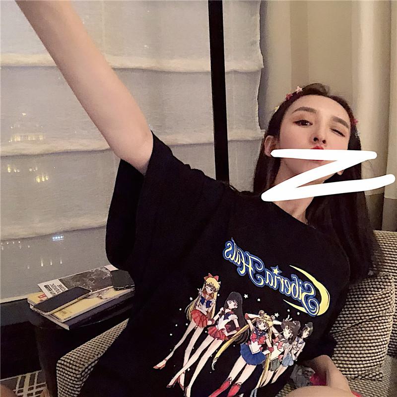 限10000张券YANS 下身失踪2019夏季港味童趣美少女卡通印花BF风宽松短袖T恤女