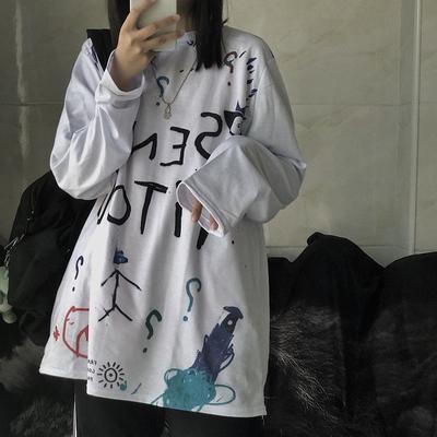 YANS2020秋季新款韩国ins复古潮人涂鸦印花宽松长袖T恤学生男女潮