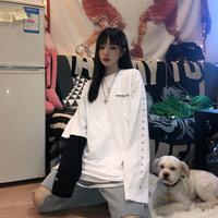 2020春季新款韩国原宿风字母印花单袖假两件长袖T恤学生男女ins潮