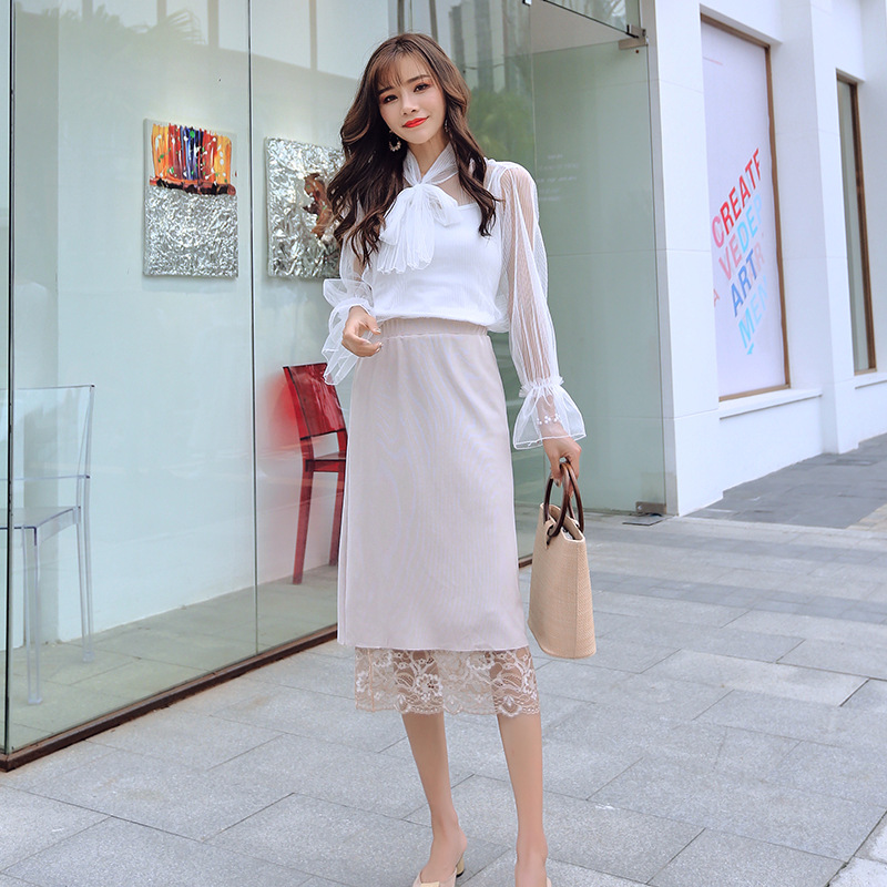 2021 spring and autumn new foreign trade lace hollow high waist slim skirt for women