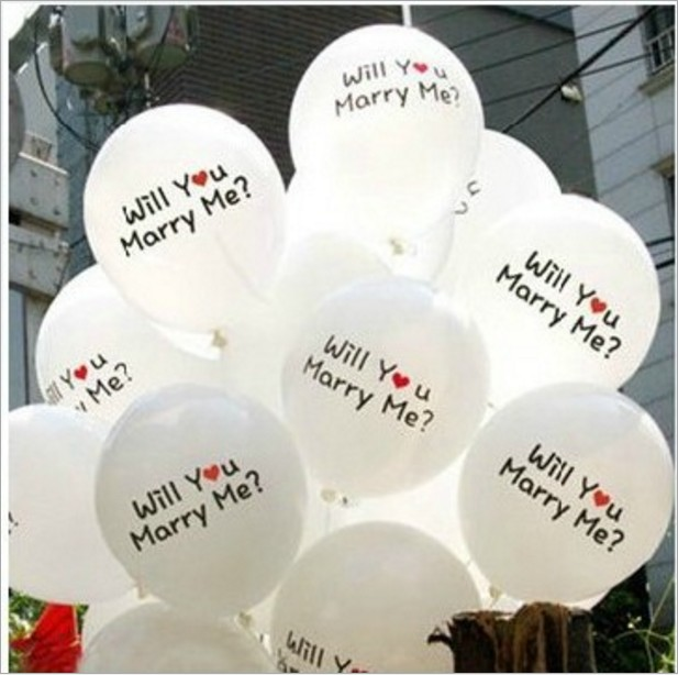 12 inch proposal balloon marry me wedding decoration Valentines Day latex balloon 100 / pack