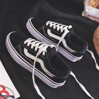 冬季黑色加绒帆布鞋低帮棉鞋子潮鞋