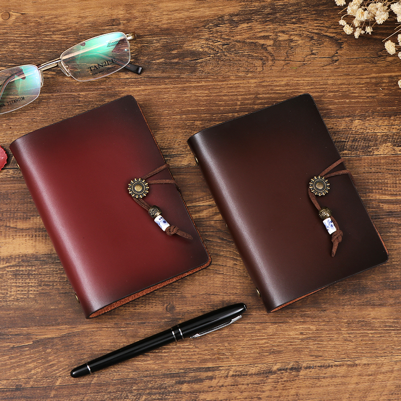 Leather manual account book retro manual loose leaf leather book portable small diary business travel portable notebook A7