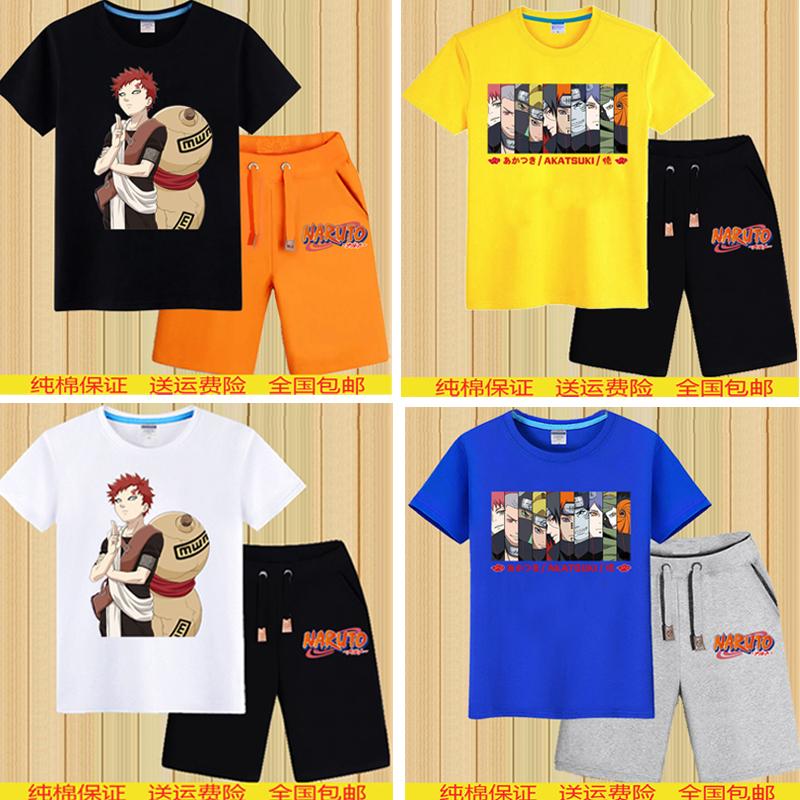 Naruto cotton Summer Short Sleeve T-Shirt Capris boys summer casual oversize sportswear