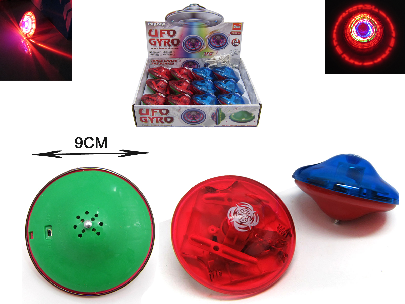 New cool childrens colorful flashing music creative automatic rotation drift little boy girl gyro toy