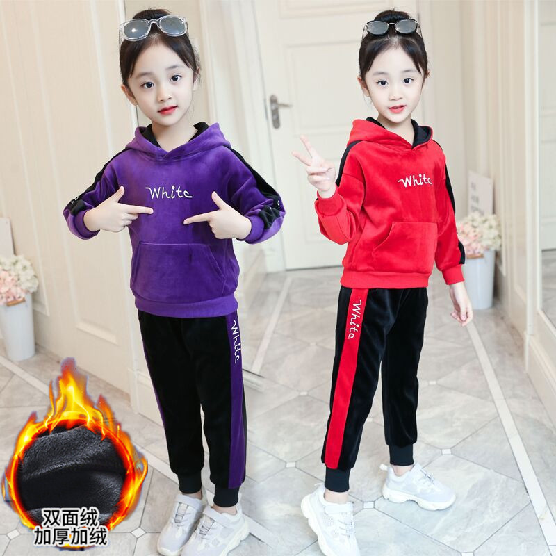 Girls autumn and winter clothes Plush suit childrens foreign style leisure sweater girls Plush thickened middle and large childrens sports clothes