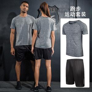 运动套装短袖男女夏季跑步服速干健身短裤休闲两件薄款运动衣服装