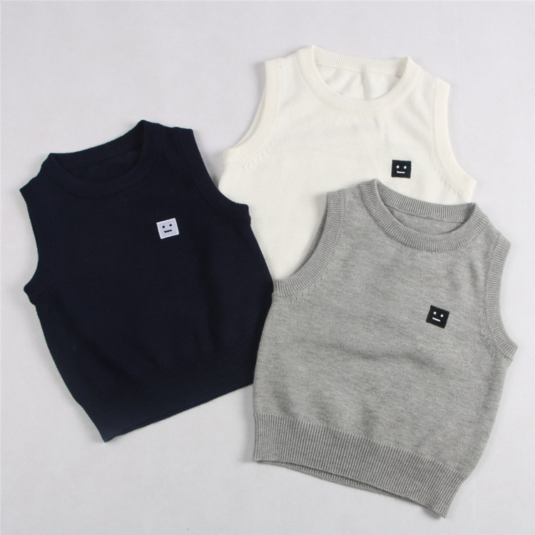 Spring and autumn childrens wear boys vest and girls round neck cotton Pullover bottomed sweater childrens sweater vest