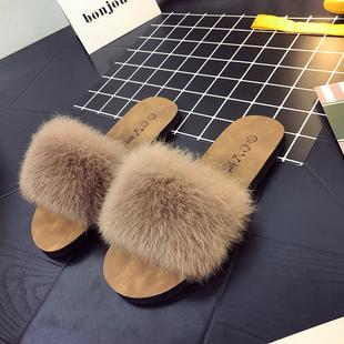 交叉毛毛一字拖鞋 拖鞋 女夏2020新款 外穿韩版 春夏拖鞋 平底防滑时尚