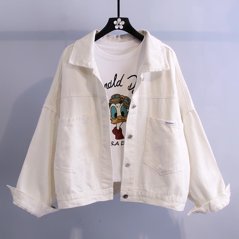 白色牛仔外套女2021年新款韩版宽松百搭休闲夹克小个子百搭上衣