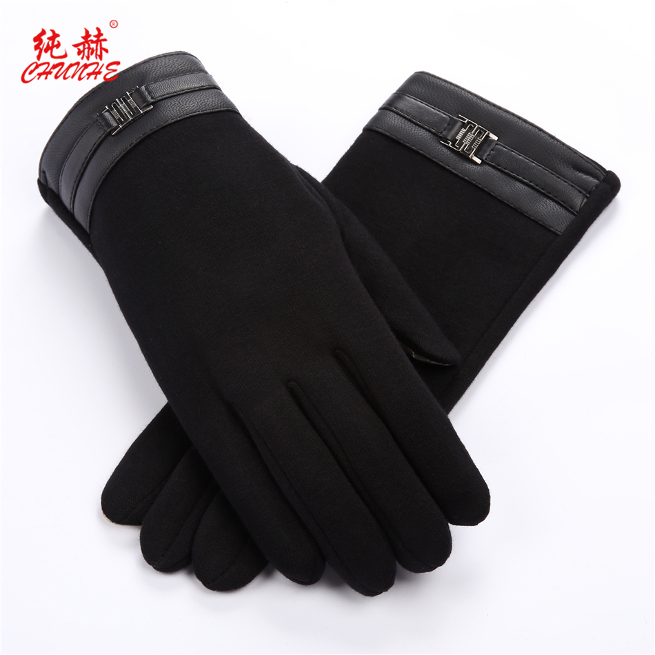 Fashionable touch screen cotton gloves for mens cycling in autumn and winter, plush warm hand repair, outdoor business driving gloves for students